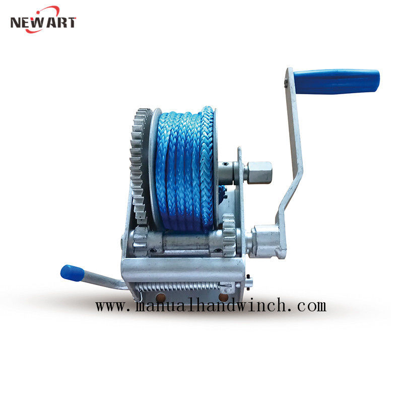 Portable Small Marine Hand Winch Boat Trailer With Synthetic Rope Dacromet